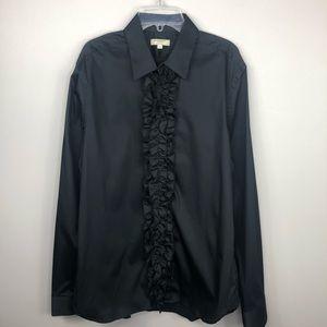 Burberry Men's Ruffle Front Black Button-Down